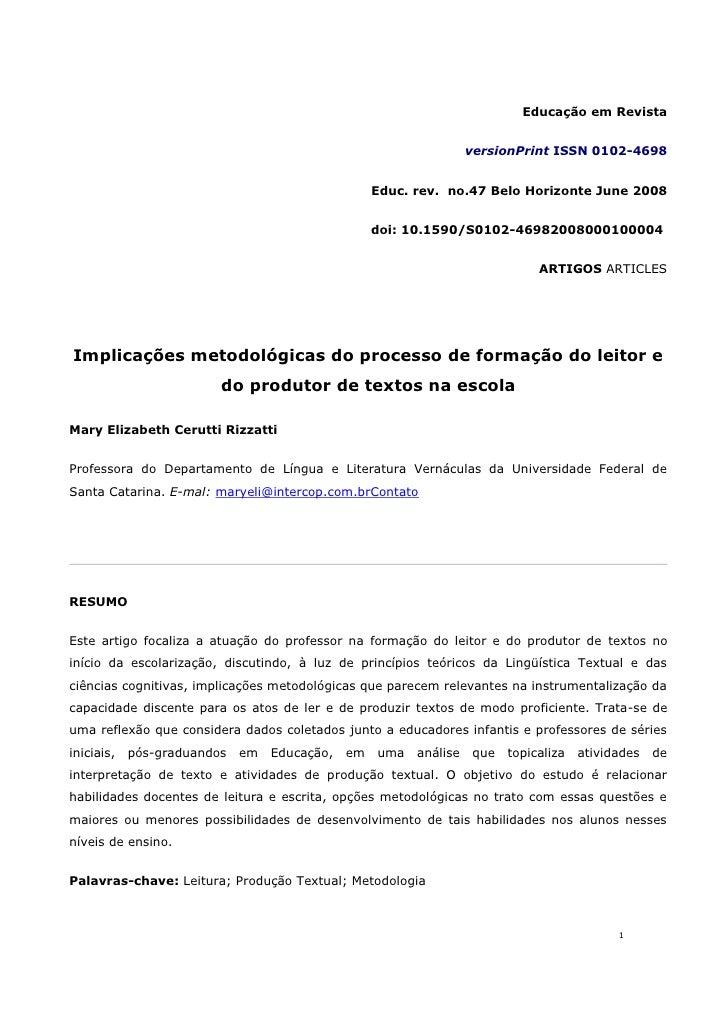 Educação em Revista                                                                      versionPrint ISSN 0102-4698      ...