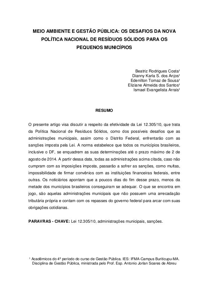 ¹ Acadêmicos do 4º período do curso de Gestão Pública. IES: IFMA-Campus Buriticupu-MA. Disciplina de Gestão Pública, minis...