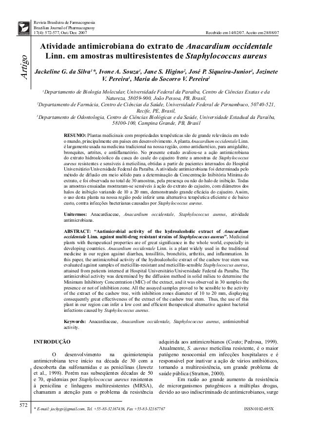 572 Artigo ISSN 0102-695X Recebido em 14/02/07. Aceito em 28/08/07 * E-mail: jackygs@gmail.com, Tel. +55-83-32167436, Fax ...