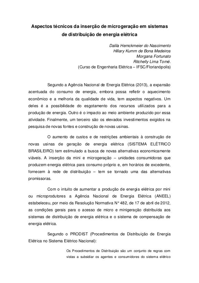 Aspectos técnicos da inserção de microgeração em sistemas de distribuição de energia elétrica Dalila Hemckmeier do Nascime...