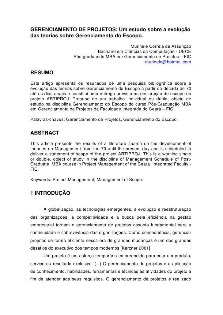 GERENCIAMENTO DE PROJETOS: Um estudo sobre a evolução das teorias sobre Gerenciamento do Escopo.                          ...
