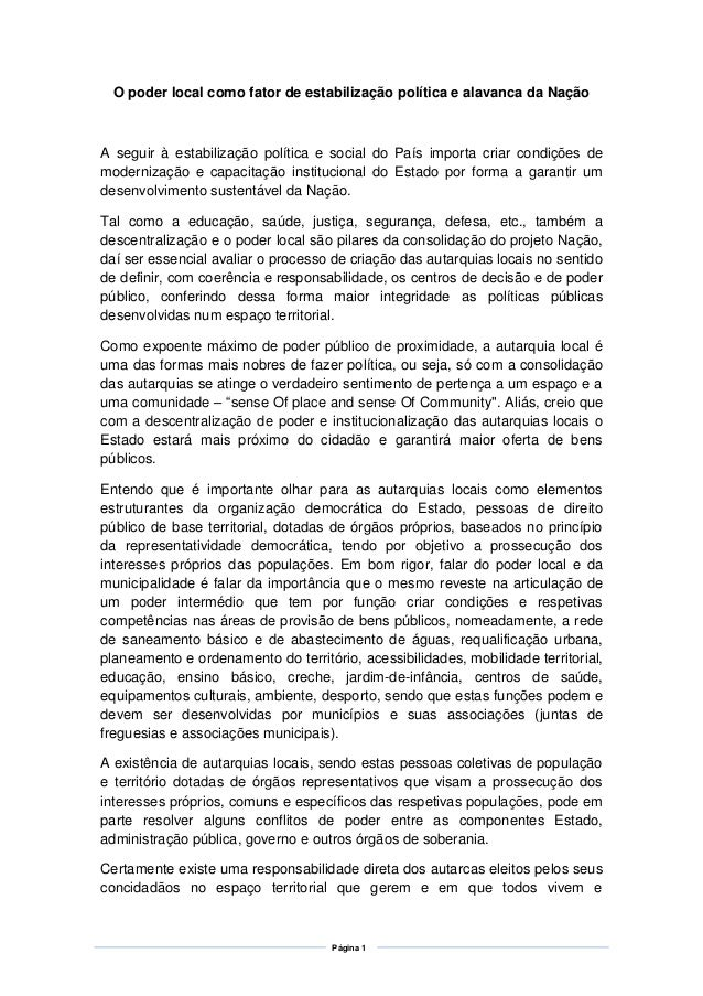Página 1 O poder local como fator de estabilização política e alavanca da Nação A seguir à estabilização política e social...