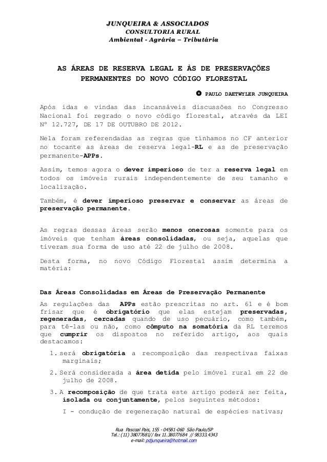 JU N Q U EIR A & ASSO CIAD O S                             CONSULTORIA RURAL                        Am biental - Agrária –...
