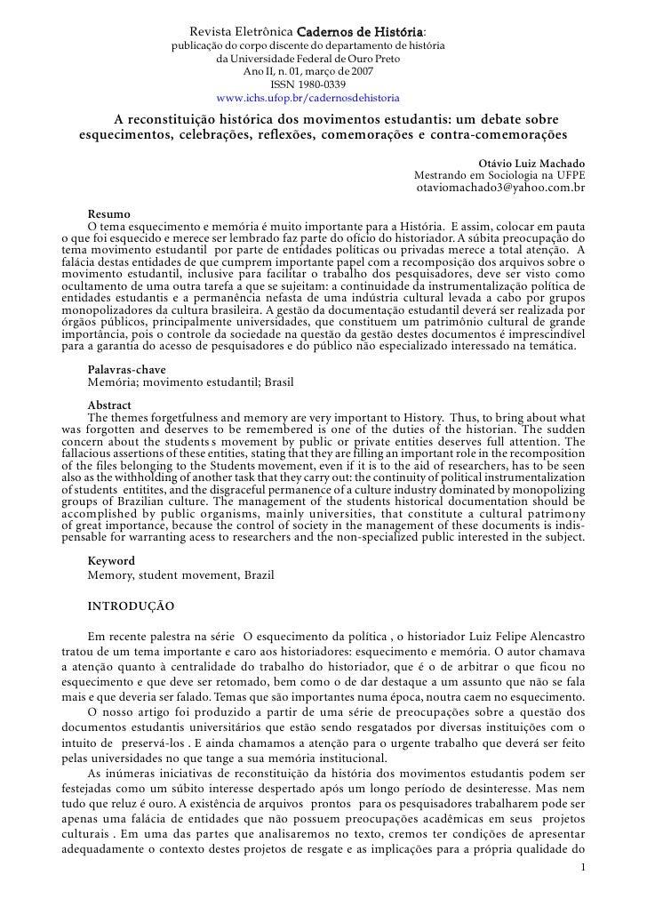 Revista Eletrônica Cadernos de História:                      publicação do corpo discente do departamento de história    ...