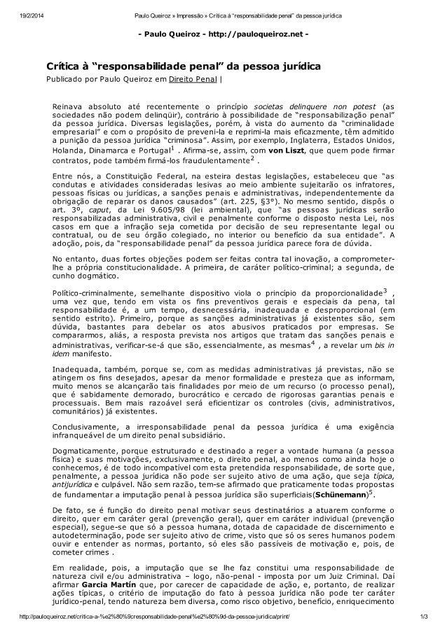 Artigo paulo queiroz responsabilidade penal da pessoa jurídica