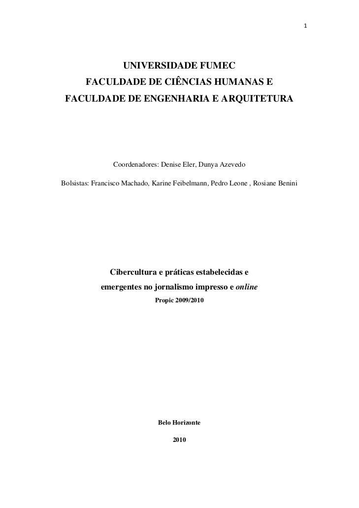1                        UNIVERSIDADE FUMEC            FACULDADE DE CIÊNCIAS HUMANAS E     FACULDADE DE ENGENHARIA E ARQ...