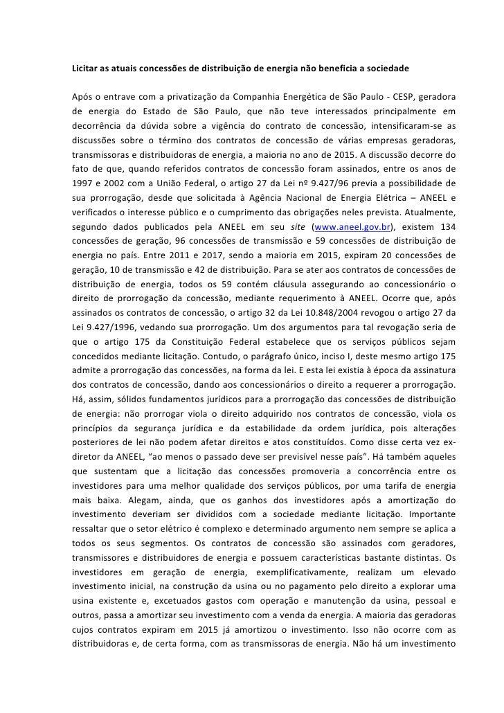 Licitarasatuaisconcessõesdedistribuiçãodeenergianãobeneficiaasociedade  Apósoentravecomaprivatizaçãoda...
