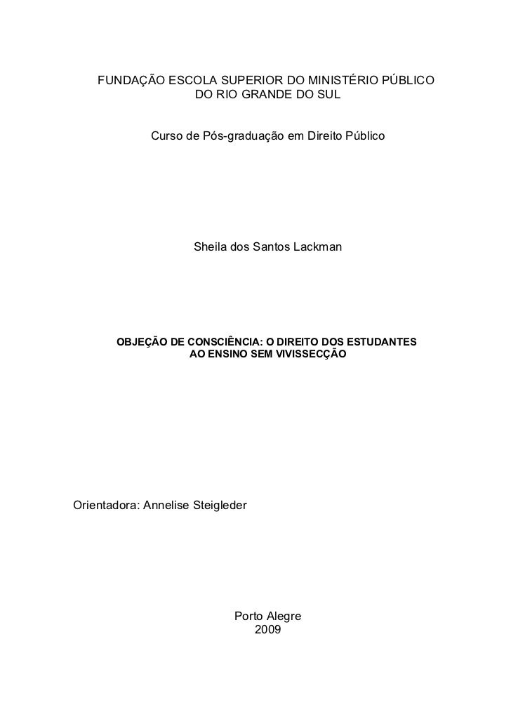 FUNDAÇÃO ESCOLA SUPERIOR DO MINISTÉRIO PÚBLICO                DO RIO GRANDE DO SUL              Curso de Pós-graduação em ...