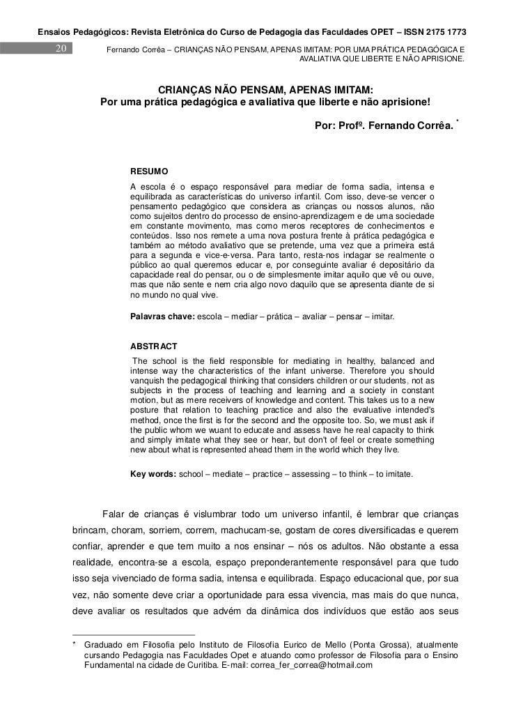 Ensaios Pedagógicos: Revista Eletrônica do Curso de Pedagogia das Faculdades OPET – ISSN 2175 1773    20            Fernan...