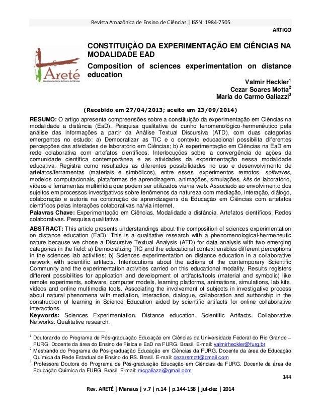 Revista Amazônica de Ensino de Ciências | ISSN: 1984-7505 ARTIGO 144 Rev. ARETÉ | Manaus | v.7 | n.14 | p.144-158 | jul-de...