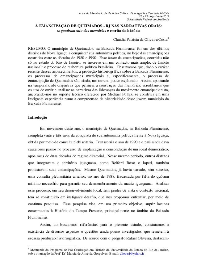 Anais do I Seminário de História e Cultura: Historiografia e Teoria da História 25 a 27 de junho de 2013 Universidade Fede...