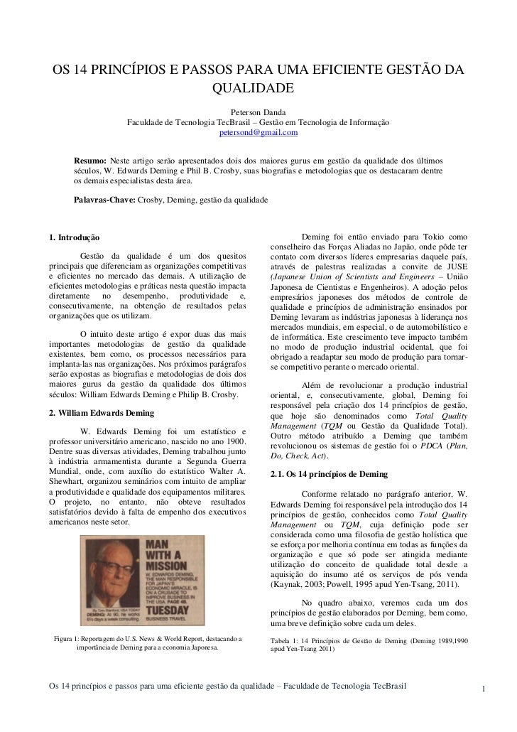 OS 14 PRINCÍPIOS E PASSOS PARA UMA EFICIENTE GESTÃO DA                       QUALIDADE                                    ...