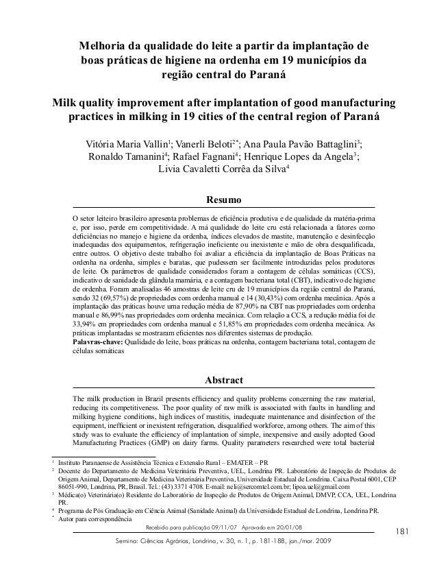181 Semina: Ciências Agrárias, Londrina, v. 30, n. 1, p. 181-188, jan./mar. 2009 Recebido para publicação 09/11/07 Aprovad...