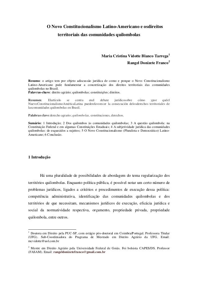 O Novo Constitucionalismo Latino-Americano e osdireitos territoriais das comunidades quilombolas Maria Cristina Vidotte Bl...