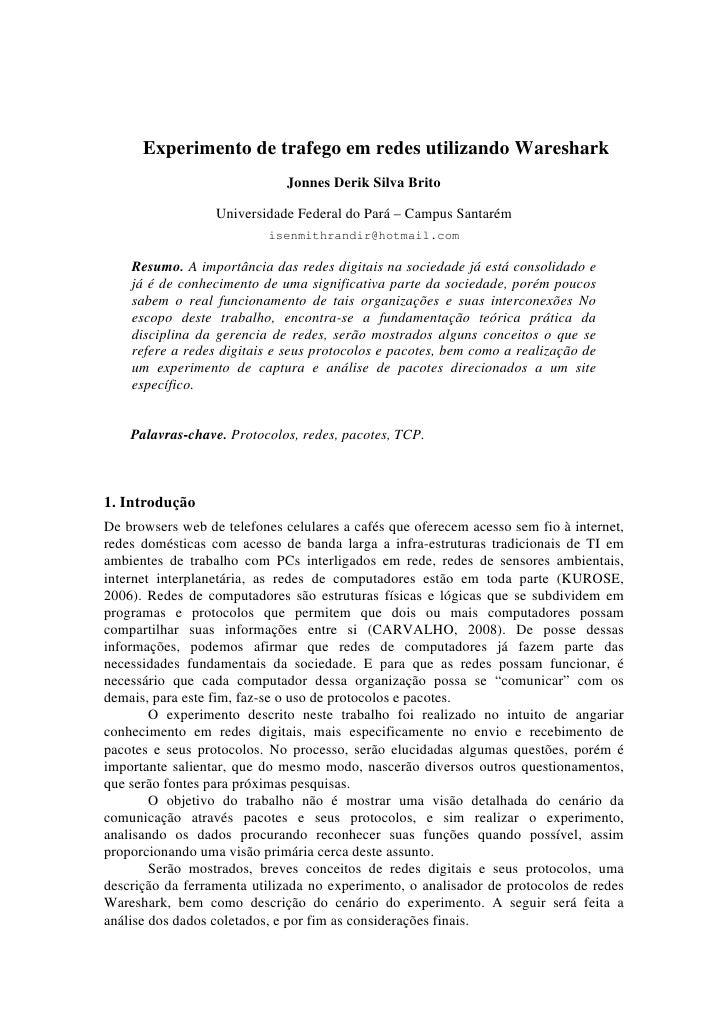 Experimento de trafego em redes utilizando Wareshark                               Jonnes Derik Silva Brito               ...