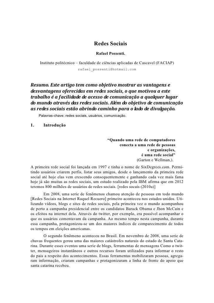 Redes Sociais                                       Rafael Possenti.     Instituto politécnico – faculdade de ciências apl...