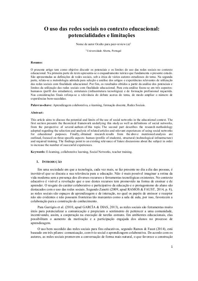 1 O uso das redes sociais no contexto educacional: potencialidades e limitações Nome de autor Oculto para peer-review (a)1...
