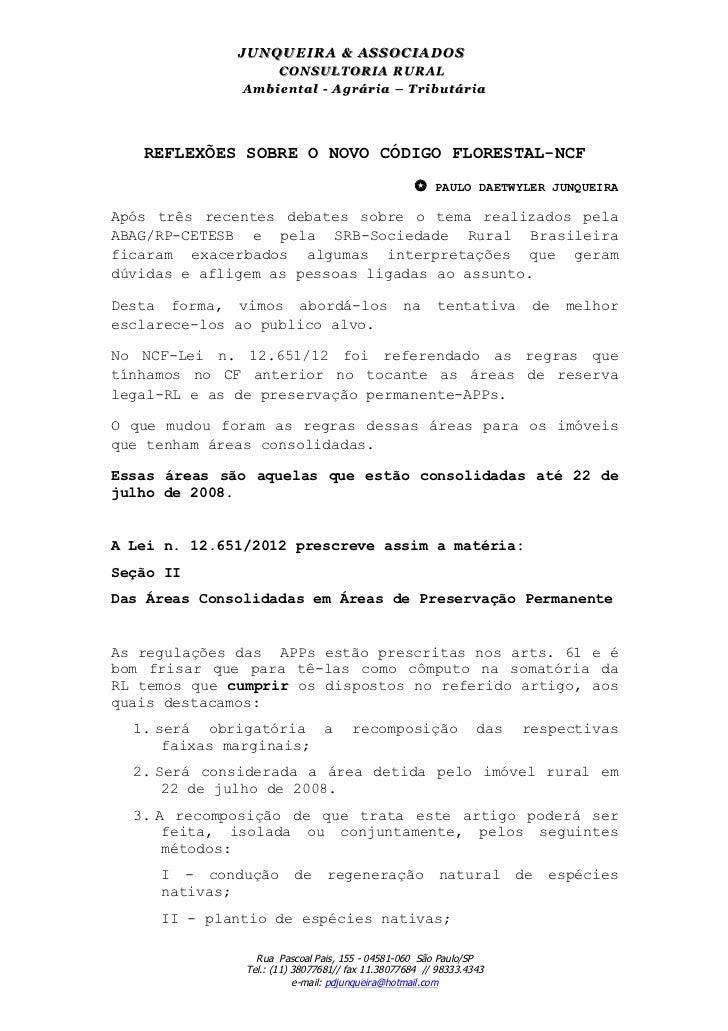 JU N Q U EIR A & ASSO CIAD O S                   CONSULTORIA RURAL              Am biental - Agrária – Tributária     RE...