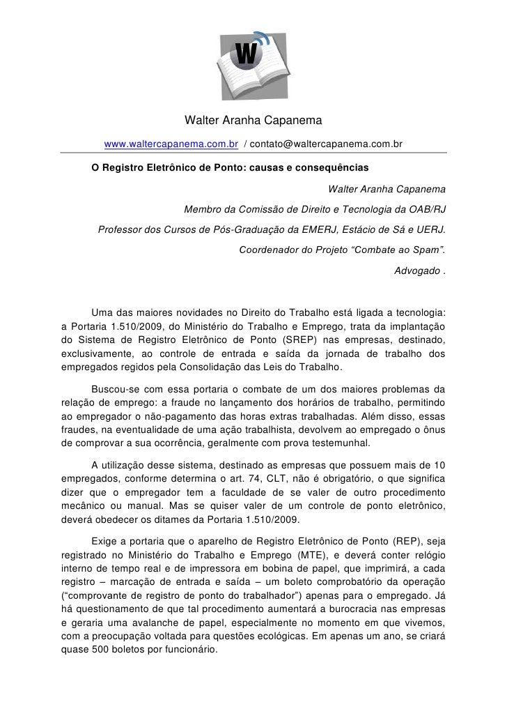 Walter Aranha Capanema         www.waltercapanema.com.br / contato@waltercapanema.com.br      O Registro Eletrônico de Pon...