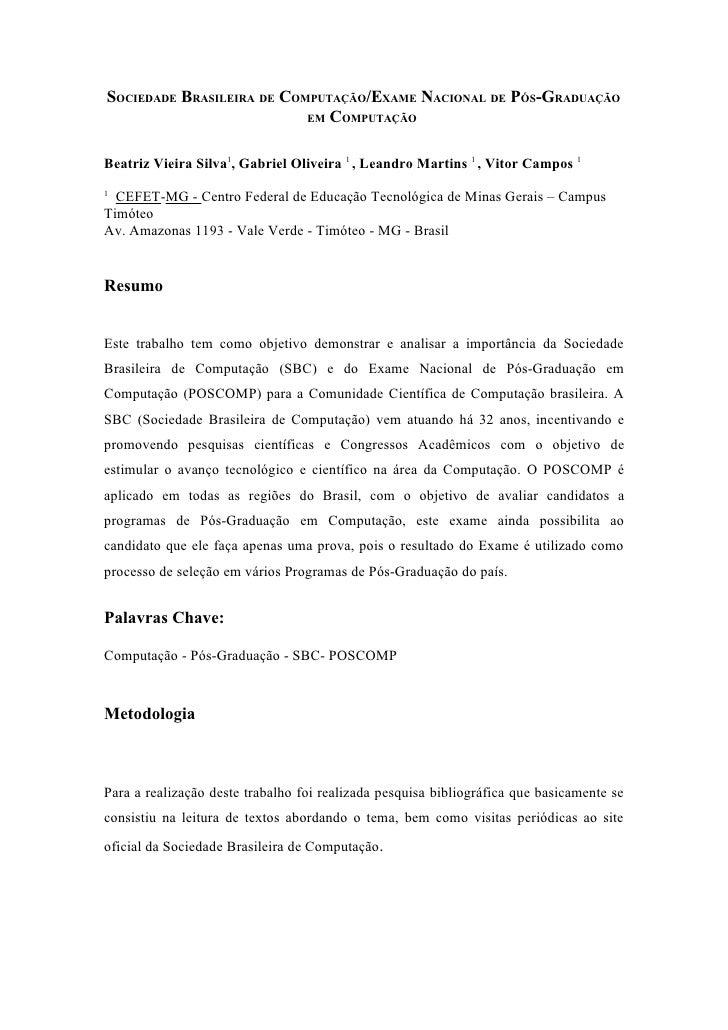 SOCIEDADE BRASILEIRA DE COMPUTAÇÃO/EXAME NACIONAL DE PÓS-GRADUAÇÃO                            EM COMPUTAÇÃO    Beatriz Vie...