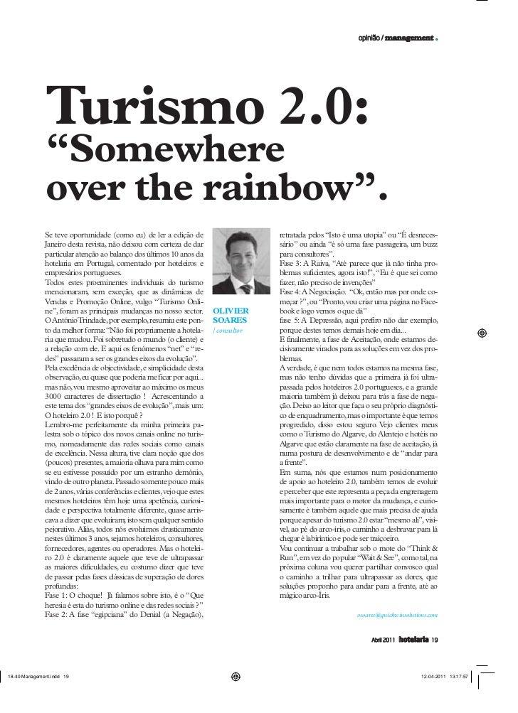 """opinião / management .Turismo 2.0:""""Somewhereover the rainbow"""".Se teve oportunidade (como eu) de ler a edição de           ..."""