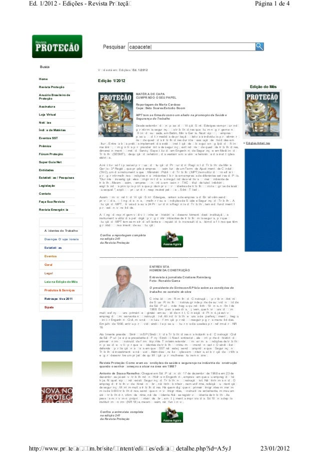 Edições Anteriores Home Revista Proteção Anuário Brasileiro de Proteção Assinatura Loja Virtual Notícias Índice de Matéria...
