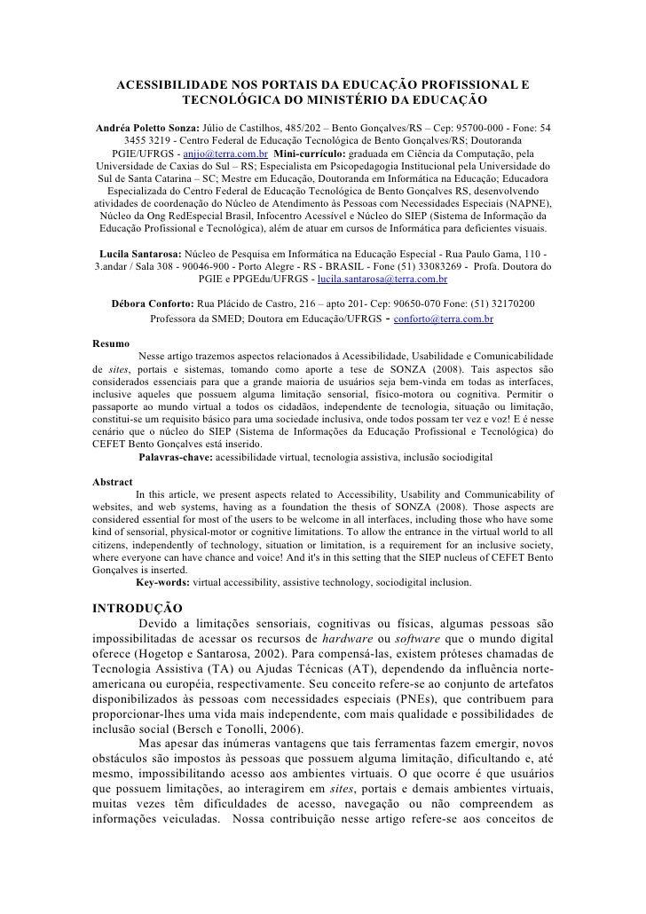 ACESSIBILIDADE NOS PORTAIS DA EDUCAÇÃO PROFISSIONAL E              TECNOLÓGICA DO MINISTÉRIO DA EDUCAÇÃOAndréa Poletto Son...