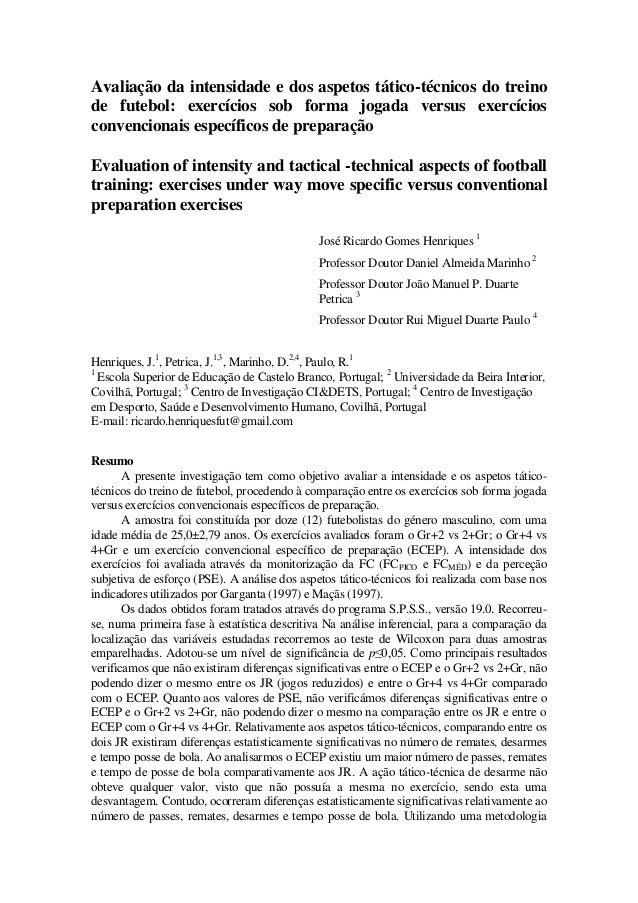 Avaliação da intensidade e dos aspetos tático-técnicos do treino de futebol   exercícios sob ... 0d9798b57554f