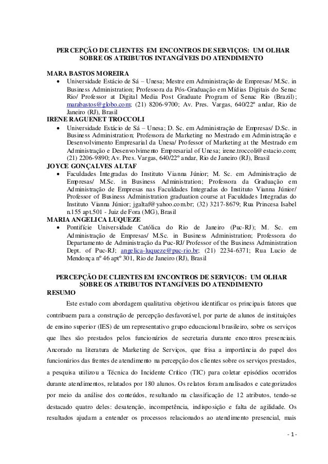 PERCEPÇÃO DE CLIENTES EM ENCONTROS DE SERVIÇOS: UM OLHAR        SOBRE OS ATRIBUTOS INTANGÍVEIS DO ATENDIMENTOMARA BASTOS M...