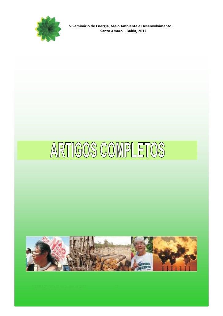 V Seminário de Energia, Meio Ambiente e Desenvolvimento.                                        Santo Amaro – Bahia, 2012V...