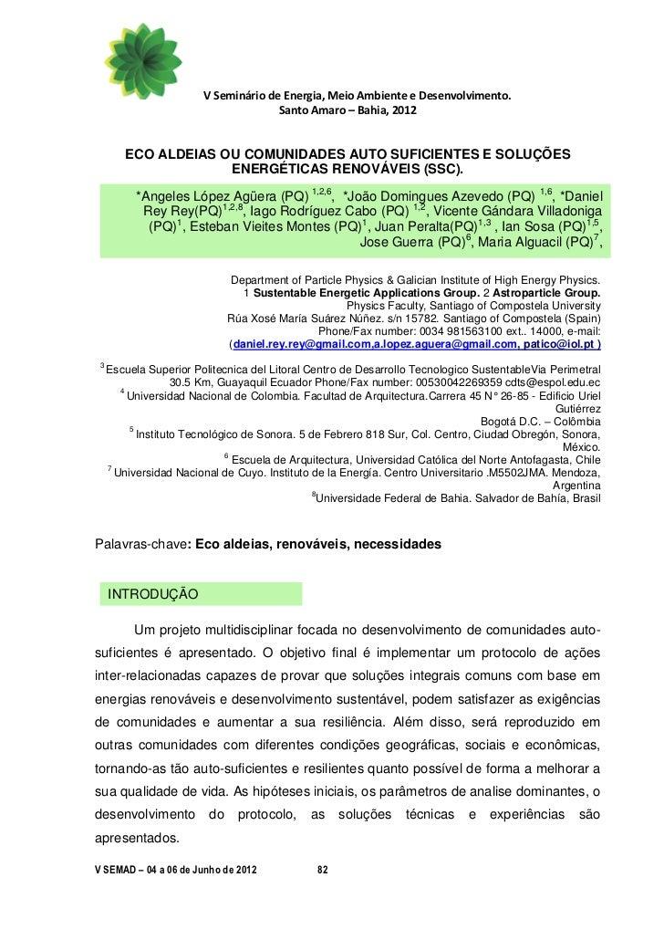 V Seminário de Energia, Meio Ambiente e Desenvolvimento.                                      Santo Amaro – Bahia, 2012   ...