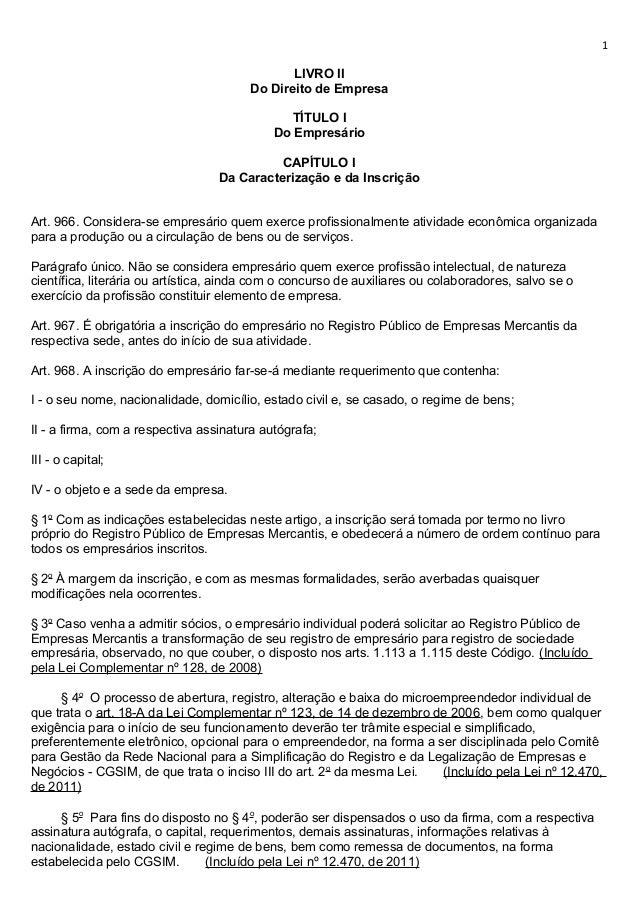 1                                               LIVRO II                                        Do Direito de Empresa     ...