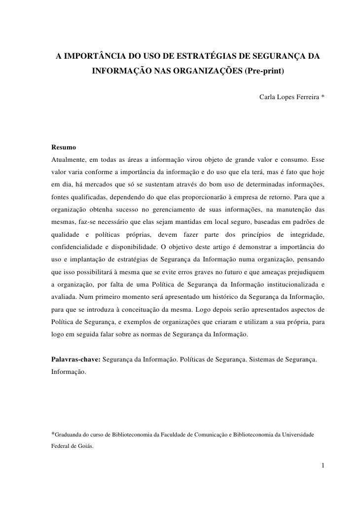 A IMPORTÂNCIA DO USO DE ESTRATÉGIAS DE SEGURANÇA DA                 INFORMAÇÃO NAS ORGANIZAÇÕES (Pre-print)               ...