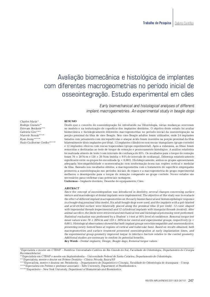 Trabalho de Pesquisa Caderno Científico                       Avaliação biomecânica e histológica de implantes             ...