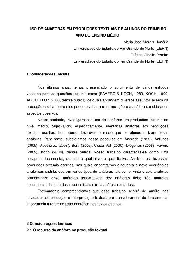 USO DE ANÁFORAS EM PRODUÇÕES TEXTUAIS DE ALUNOS DO PRIMEIRO                             ANO DO ENSINO MÉDIO               ...