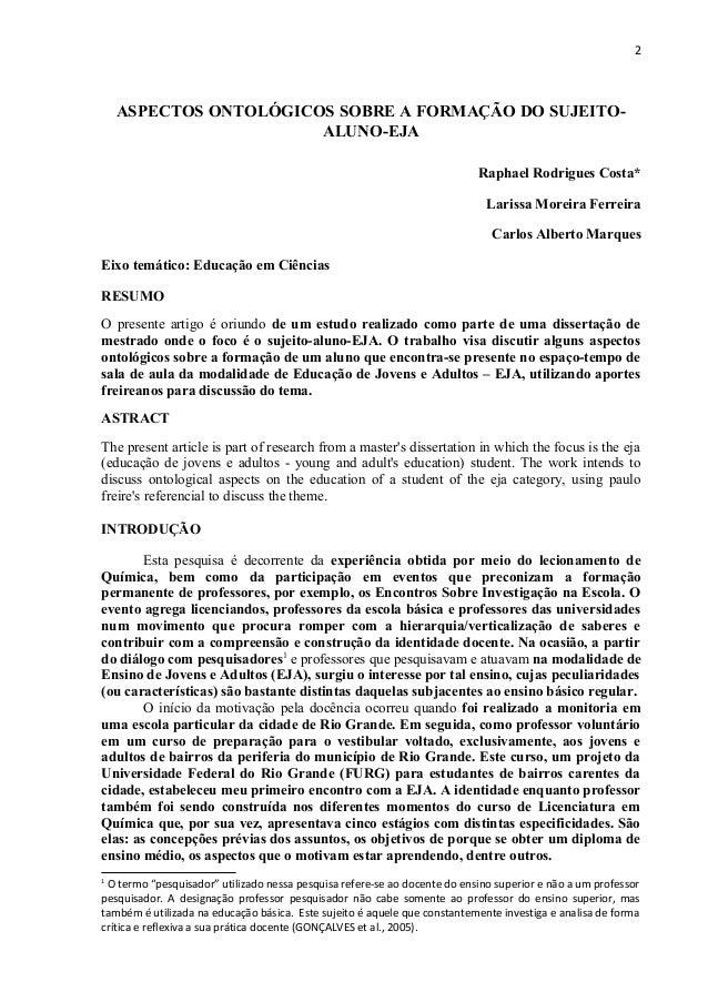 2    ASPECTOS ONTOLÓGICOS SOBRE A FORMAÇÃO DO SUJEITO-                       ALUNO-EJA                                    ...