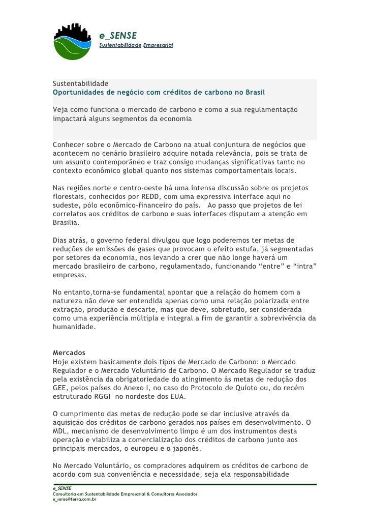 e_SENSE                      Sustentabilidade Empresarial     Sustentabilidade Oportunidades de negócio com créditos de ca...