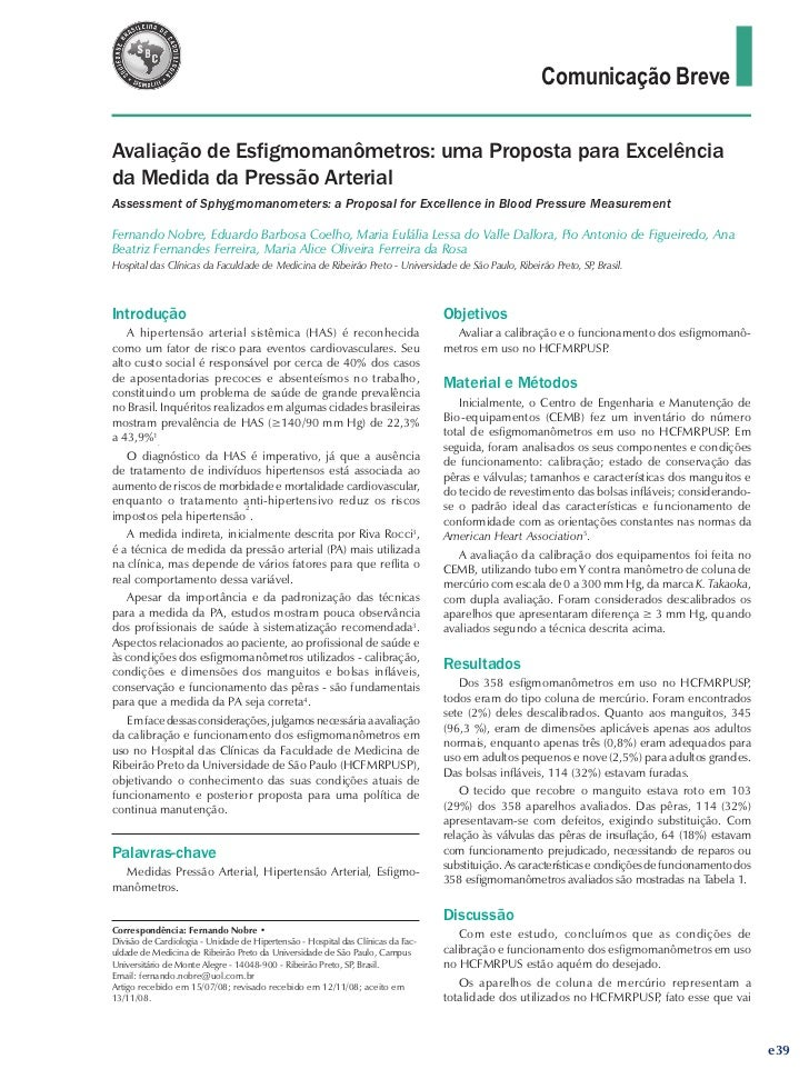 Comunicação BreveAvaliação de Esfigmomanômetros: uma Proposta para Excelênciada Medida da Pressão ArterialAssessment of Sp...