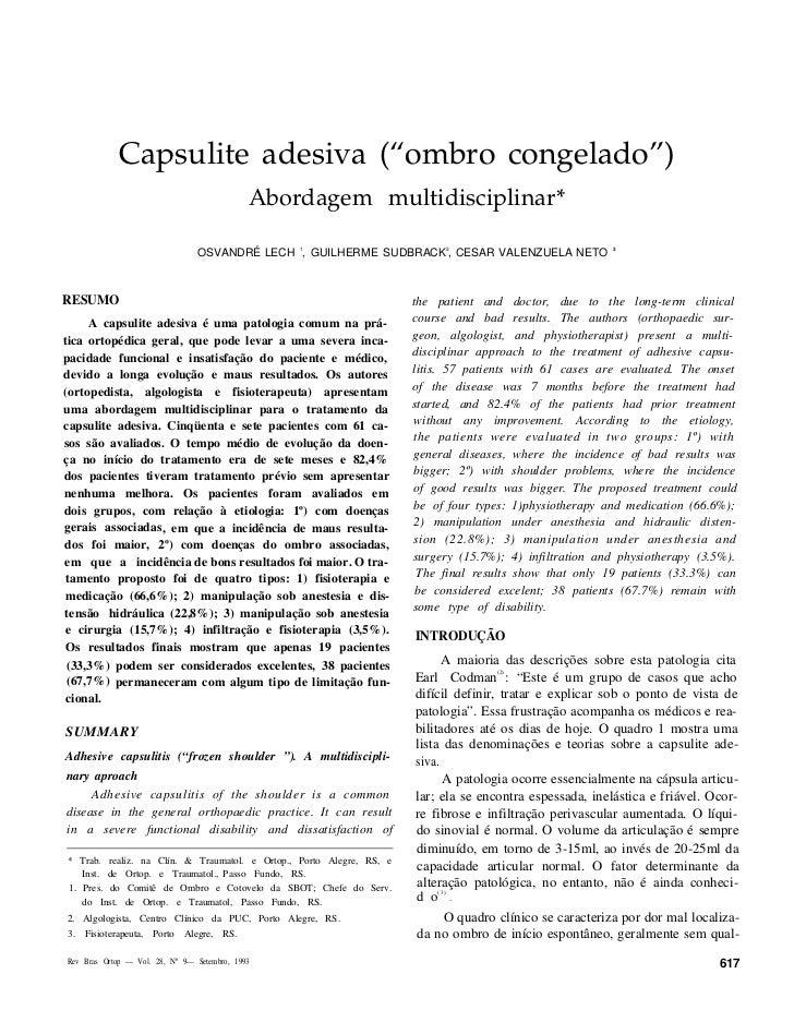 """Capsulite adesiva (""""ombro congelado"""")                                             Abordagem multidisciplinar*             ..."""