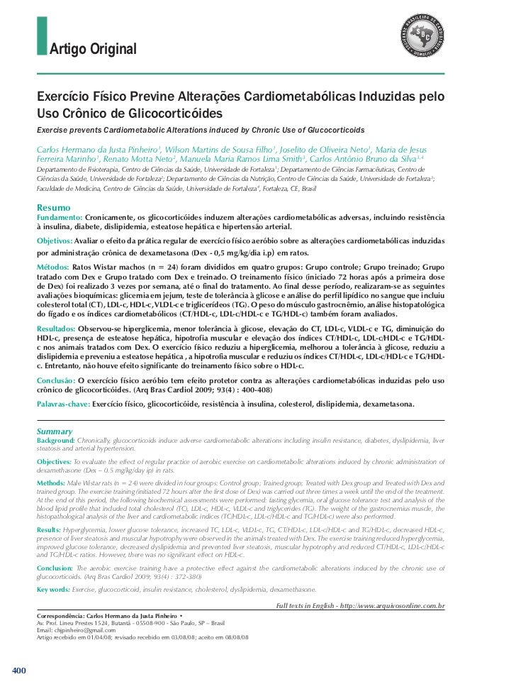Artigo Original      Exercício Físico Previne Alterações Cardiometabólicas Induzidas pelo      Uso Crônico de Glicocorticó...