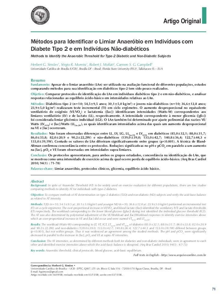 Artigo OriginalMétodos para Identificar o Limiar Anaeróbio em Indivíduos comDiabete Tipo 2 e em Indivíduos Não-diabéticosM...