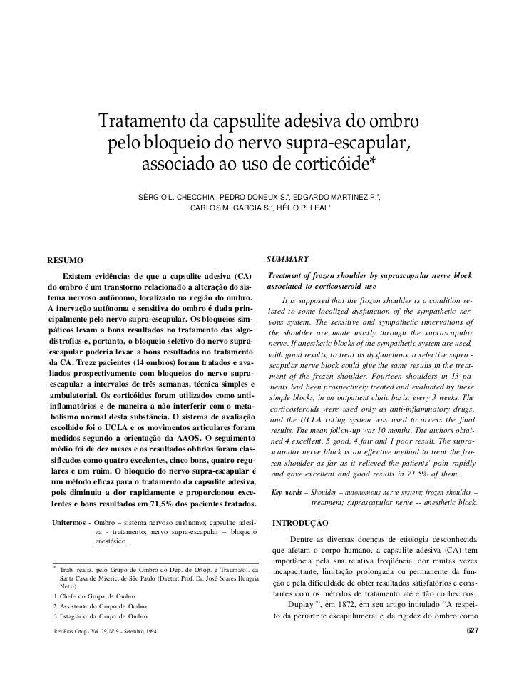 Tratamento da capsulite adesiva do ombro                      pelo bloqueio do nervo supra-escapular,                     ...