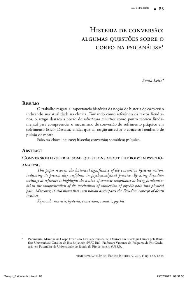 ISSN 0101-483883tempo psicanalítico, Rio de Janeiro, v. 44.i, p. 83-102, 2012Histeria de conversãoHisteria de conversão:al...