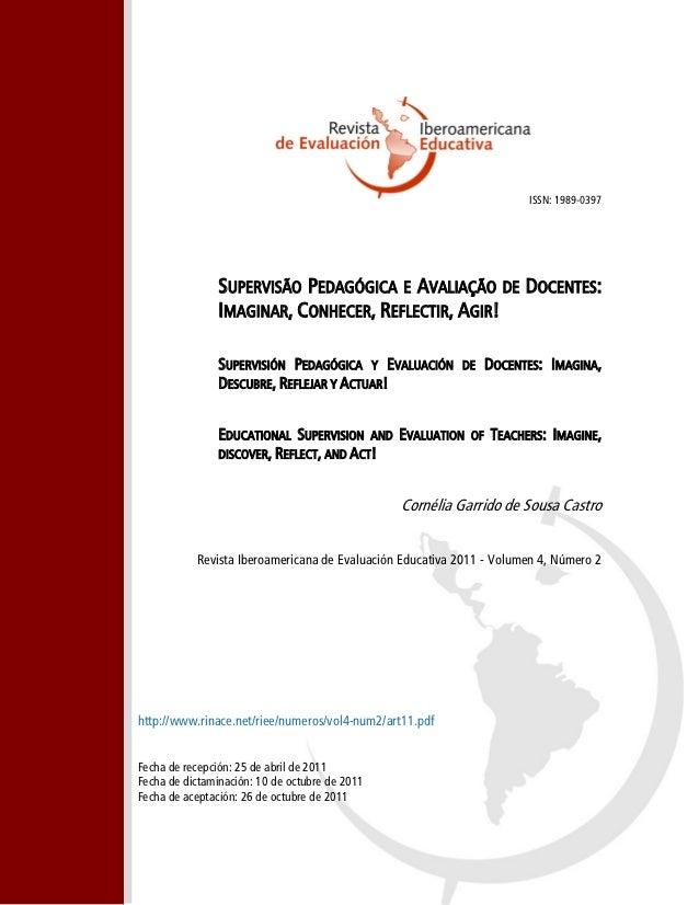 ISSN: 1989-0397                SUPERVISÃO PEDAGÓGICA E AVALIAÇÃO DE DOCENTES:                IMAGINAR, CONHECER, REFLECTIR...