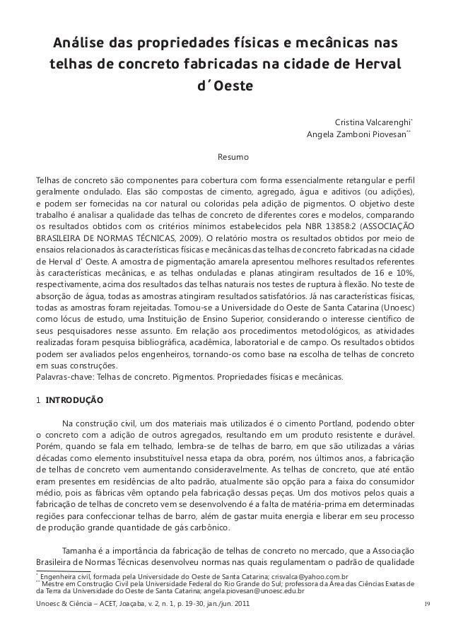 19  Análise das propriedades físicas e mecânicas nas telhas de concreto fabricadas na cidade de Herval d´Oeste  Cristina V...
