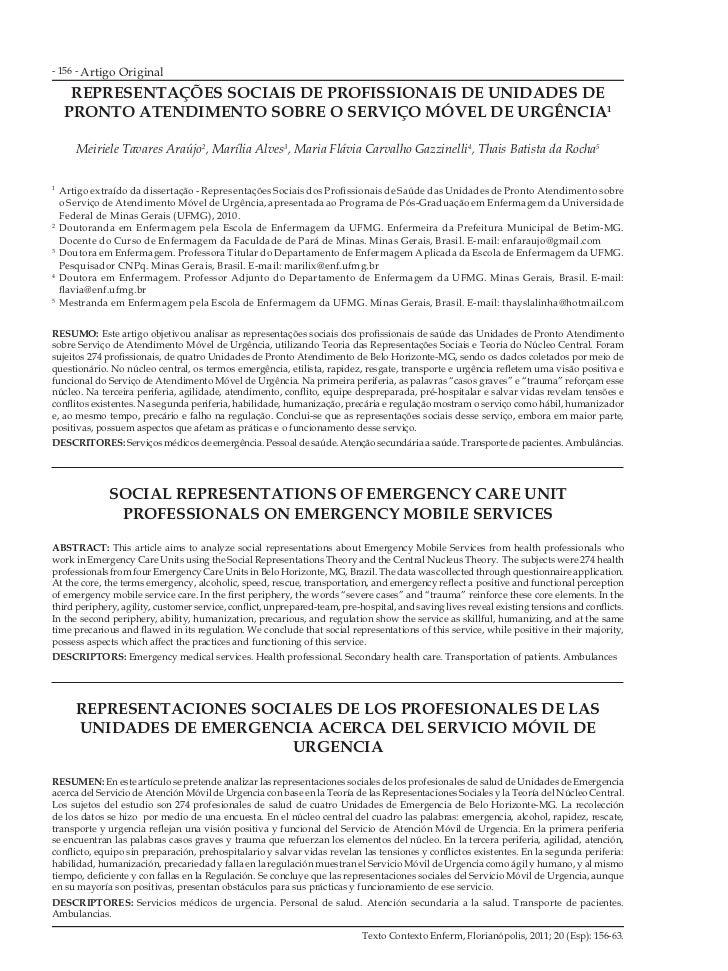 - 156 - Artigo   Original     REPRESENTAÇÕES SOCIAIS DE PROFISSIONAIS DE UNIDADES DE    PRONTO ATENDIMENTO SOBRE O SERVIÇO...