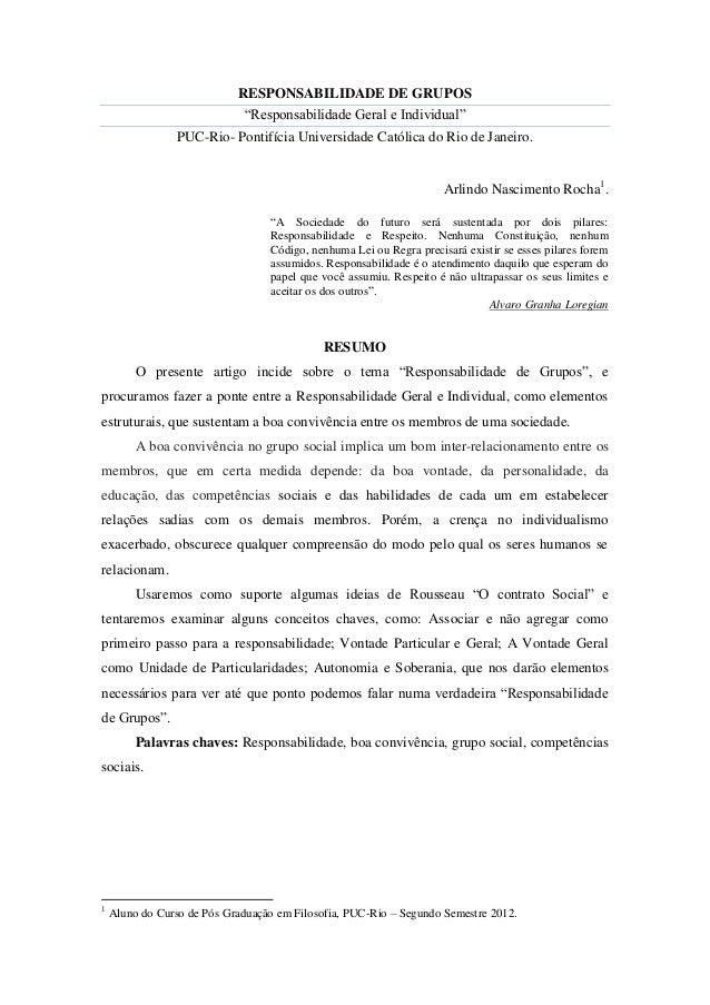 """RESPONSABILIDADE DE GRUPOS                             """"Responsabilidade Geral e Individual""""                 PUC-Rio- Pont..."""
