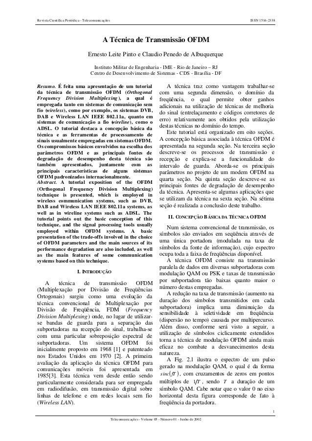 Revista Científica Periódica - Telecomunicações ISSN 1516-2338 1 Telecomunicações - Volume 05 - Número 01 - Junho de 2002 ...