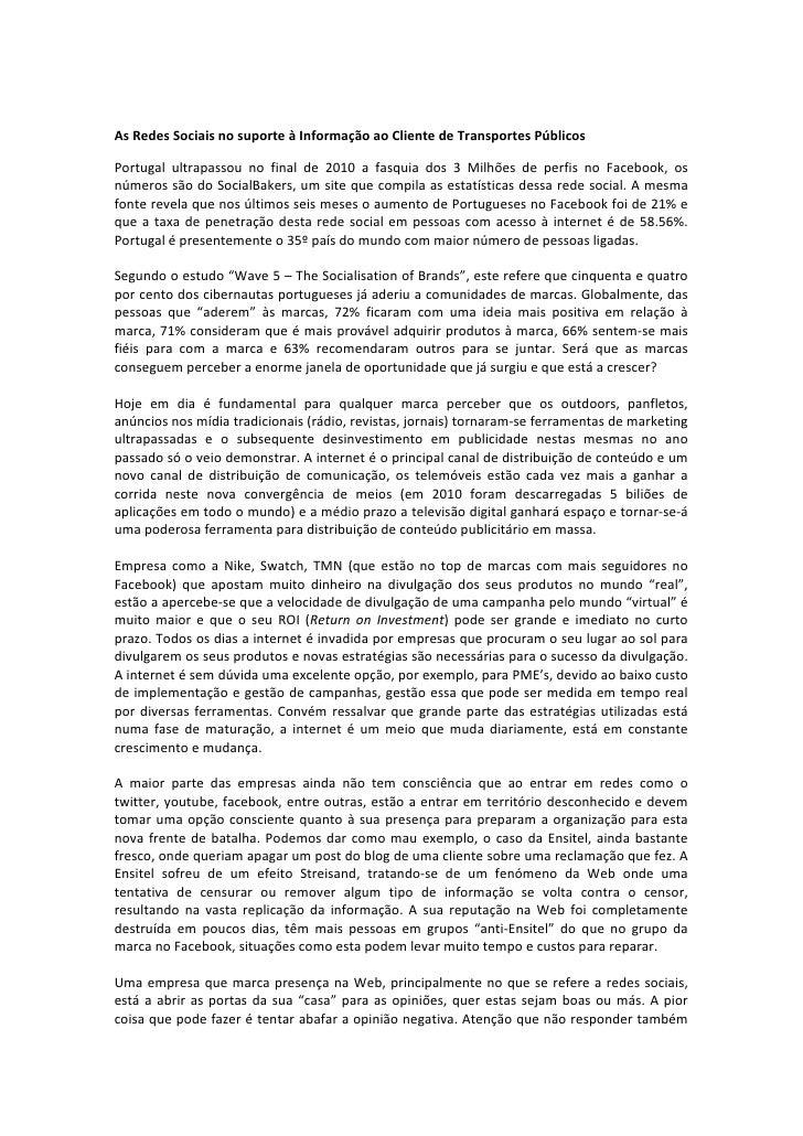 As Redes Sociais no suporte à Informação ao Cliente de Transportes Públicos Portugal  ultrapass...