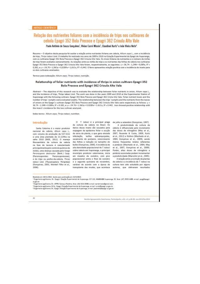 Relação dos nutrientes foliares com a incidência de trips nos cultivares de cebola Epagri